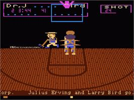 In game image of Dr. J and Larry Bird Go One-on-One on the Atari 7800.