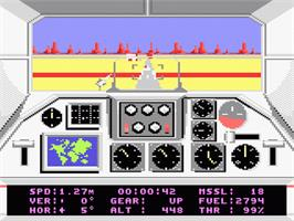 In game image of F-18 Hornet on the Atari 7800.