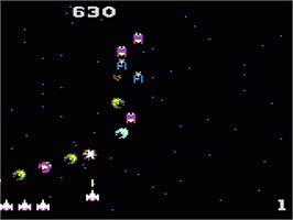 In game image of Galaga on the Atari 7800.