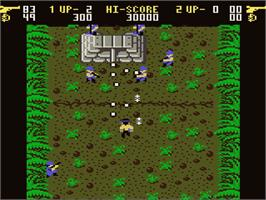 In game image of Ikari Warriors on the Atari 7800.
