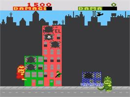 In game image of Rampage on the Atari 7800.
