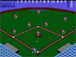 In game image of RealSports Baseball on the Atari 7800.
