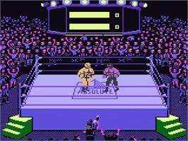 In game image of Title Match Pro Wrestling on the Atari 7800.