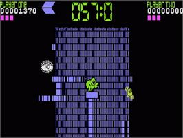 In game image of Tower Toppler on the Atari 7800.