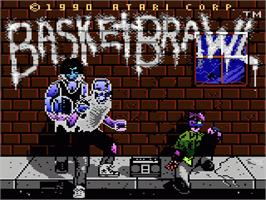 Title screen of Basketbrawl on the Atari 7800.