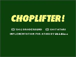 Title screen of Choplifter on the Atari 7800.