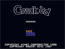 Title screen of Crack'ed on the Atari 7800.