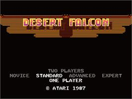 Title screen of Desert Falcon on the Atari 7800.