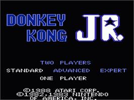 Title screen of Donkey Kong Junior on the Atari 7800.