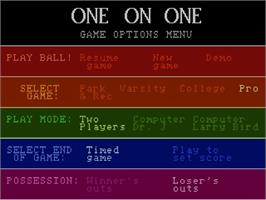 Title screen of Dr. J and Larry Bird Go One-on-One on the Atari 7800.