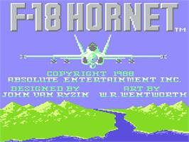 Title screen of F-18 Hornet on the Atari 7800.