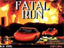 Title screen of Fatal Run on the Atari 7800.