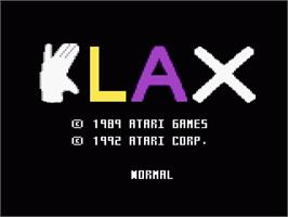 Title screen of Klax on the Atari 7800.