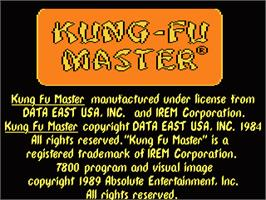 Title screen of Kung-Fu Master on the Atari 7800.