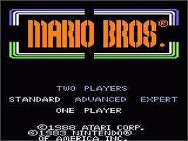 Title screen of Mario Bros. on the Atari 7800.