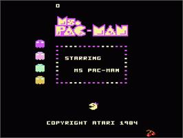 Title screen of Ms. Pac-Man on the Atari 7800.