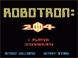 Title screen of Robotron on the Atari 7800.