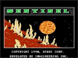 Title screen of Sentinel on the Atari 7800.