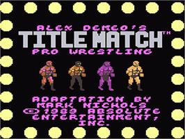 Title screen of Title Match Pro Wrestling on the Atari 7800.
