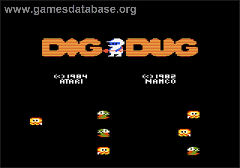 Title screen of Dig Dug on the Atari 7800.