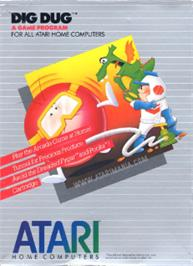 Box cover for Dig Dug on the Atari 8-bit.