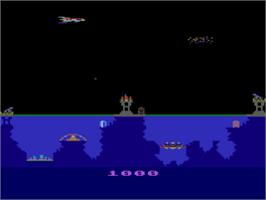 In game image of Atlantis on the Atari 8-bit.