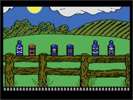 In game image of Barnyard Blaster on the Atari 8-bit.