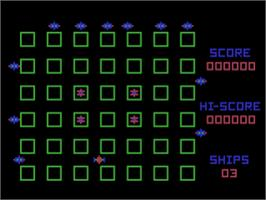 In game image of Crossfire on the Atari 8-bit.