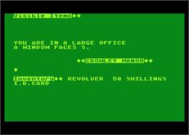 In game image of Curse of Crowley Manor on the Atari 8-bit.
