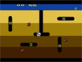In game image of Dig Dug on the Atari 8-bit.