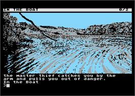 In game image of Guild of Thieves on the Atari 8-bit.
