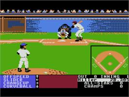 In game image of HardBall on the Atari 8-bit.