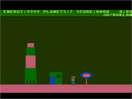 In game image of Journey to the Planets on the Atari 8-bit.