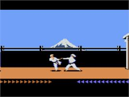 In game image of Karateka on the Atari 8-bit.