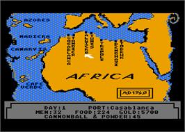 In game image of Pirates of the Barbary Coast on the Atari 8-bit.
