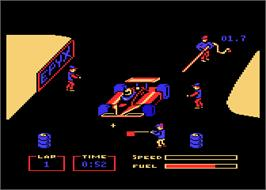 In game image of Pitstop 2 on the Atari 8-bit.