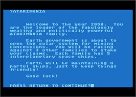In game image of Planet Miners on the Atari 8-bit.