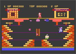 In game image of Popeye on the Atari 8-bit.