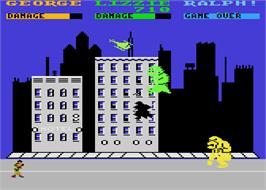 In game image of Rampage on the Atari 8-bit.