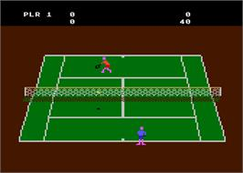 In game image of RealSports Tennis on the Atari 8-bit.