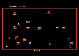 In game image of Robotron on the Atari 8-bit.