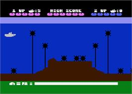 In game image of Sea Dragon on the Atari 8-bit.