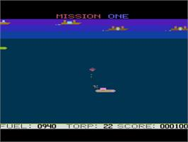 In game image of Seafox on the Atari 8-bit.