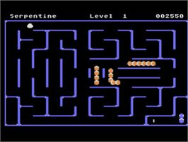 In game image of Serpentine on the Atari 8-bit.