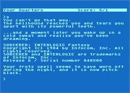 In game image of Sorcerer on the Atari 8-bit.