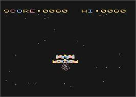In game image of Space Eggs on the Atari 8-bit.