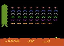 In game image of Space Invaders on the Atari 8-bit.