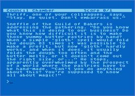 In game image of Spellbreaker on the Atari 8-bit.