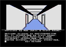 In game image of Spider-Man on the Atari 8-bit.