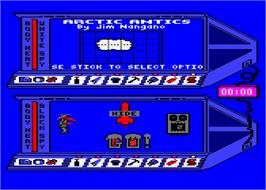 In game image of Spy vs. Spy III: Arctic Antics on the Atari 8-bit.